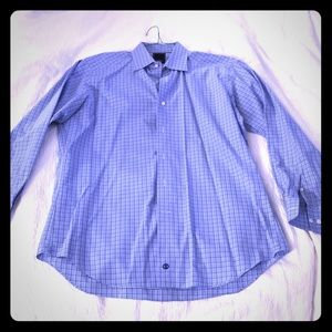David Donahue Bl/Wh Sz. 17/ Trim Dress Shirt